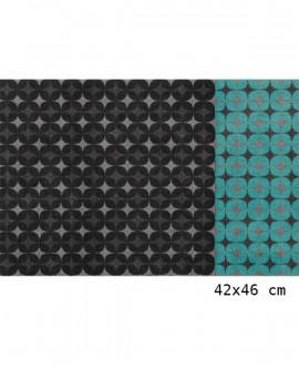 Tapis Living Mats anti-dérapant Noir-Turquoise 42x64 cm
