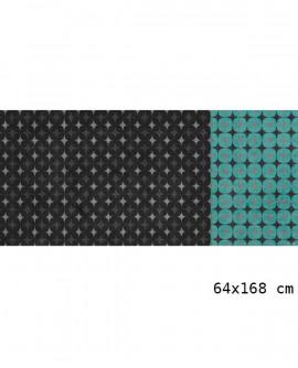 Tapis Living Mats anti-dérapant Noir-Turquoise 64x168cm LM050-53-MM