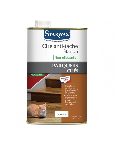 Cire parquet anti-tache Starlon incolore STARWAX 1L.